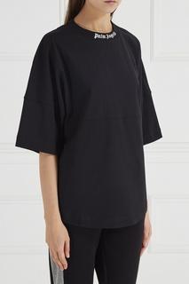 Черная футболка с логотипами Palm Angels