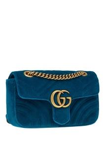 Бирюзовая сумка GG Marmont из бархата Gucci