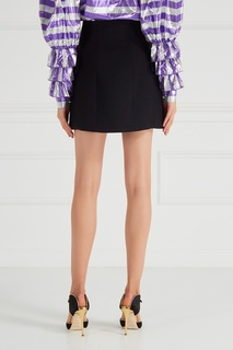 Шерстяная юбка с декорированными пуговицами Alessandra Rich