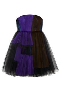 Платье из драпированной сетки Delpozo