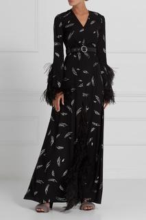 Шелковое платье с перьями A LA Russe