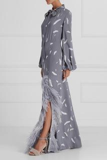 Драпированное платье с перьями A LA Russe