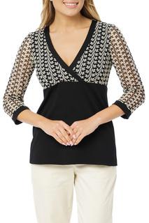 Трикотажная блузка с кружевом Gloss
