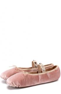 Текстильные балетки Rockstud Ballet с перемычкой Valentino
