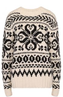 Кашемировый пуловер прямого кроя с контрастным принтом Ralph Lauren
