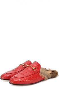 Сабо Princetown из кожи крокодила с пряжкой-трензелем Gucci