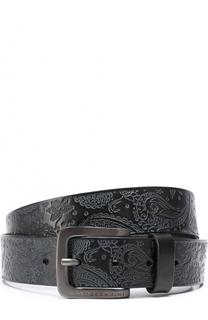 Кожаный ремень с узором пейсли и металлической пряжкой Baldessarini