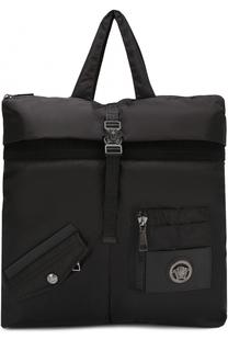 Текстильная сумка-тоут с плечевым ремнем Versace