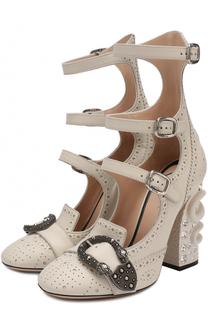 Кожаные туфли Queercore на декорированном каблуке Gucci