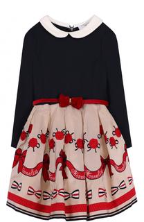 Комбинированное платье с принтом и бантом на поясе Monnalisa