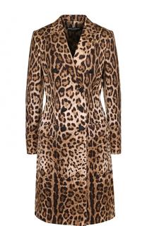 Приталенное двубортное пальто с леопардовым принтом Dolce & Gabbana
