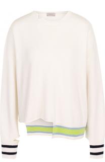 Пуловер асимметричного кроя из смеси шерсти и кашемира MRZ