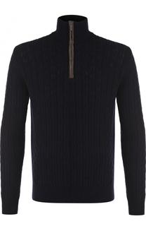 Кашемировый свитер фактурной вязки с воротником на молнии Cruciani