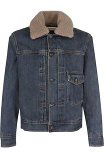 Джинсовая куртка на пуговицах с меховой отделкой воротника Rag&Bone Rag&Bone