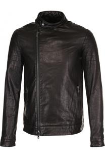 Кожаная куртка на молнии с воротником-стойкой Salvatore Santoro