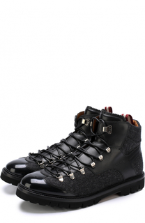 Высокие комбинированные ботинки на шнуровке Bally