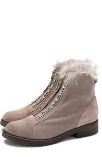 Замшевые ботинки с отделкой кристаллами Baldan