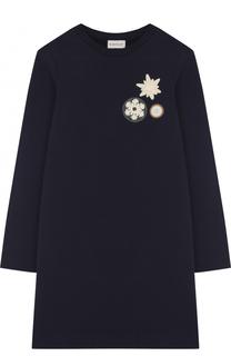 Мини-платье из эластичного хлопка с нашивками Moncler Enfant