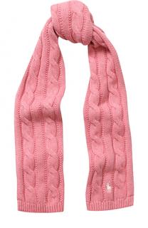Хлопковый шарф фактурной вязки с логотипом бренда Polo Ralph Lauren