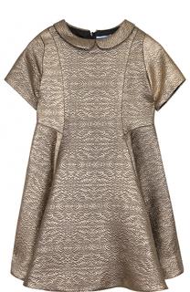Приталенное мини-платье с металлизированной отделкой Lanvin