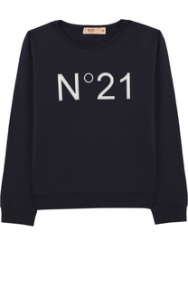 Хлопковый свитшот с логотипом бренда No. 21