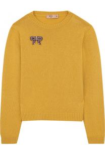 Вязаный пуловер с брошью No. 21