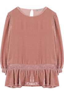 Бархатная блуза с оборкой и кружевной отделкой Ermanno Scervino