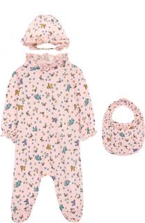 Хлопковый комплект из пижамы с шапкой и нагрудника Gucci