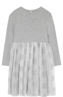 Комбинированное платье с длинными рукавами и вышивкой Il Gufo