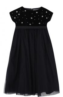 Платье с завышенной талией и декором Il Gufo