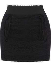 Мини-юбка с широким поясом и шнуровкой Dolce & Gabbana