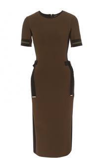 Приталенное платье-миди с круглым вырезом David Koma