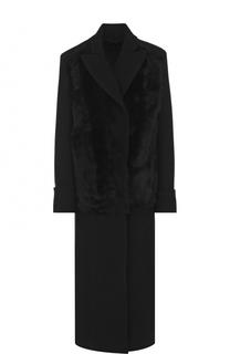 Шерстяное пальто прямого кроя с отделкой из овчины Ann Demeulemeester
