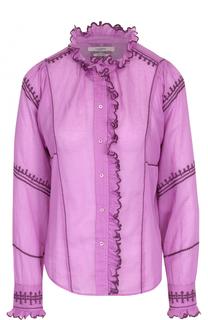 Приталенная хлопковая блуза с контрастной отделкой Isabel Marant Etoile