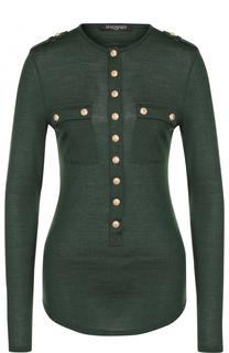 Облегающий пуловер из смеси шерсти и шелка Balmain