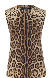 Шерстяной топ с леопардовым принтом Dolce & Gabbana