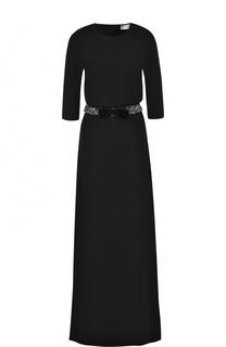 Приталенное платье-макси с декорированным поясом Lanvin
