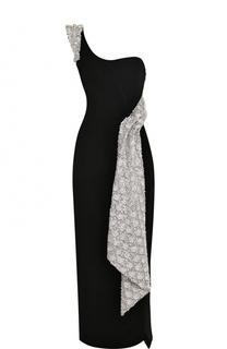 Бархатное платье-миди с высоким разрезом Oscar de la Renta