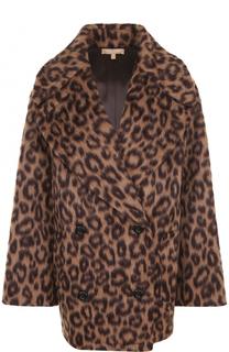 Шерстяное пальто с леопардовым принтом Michael Kors