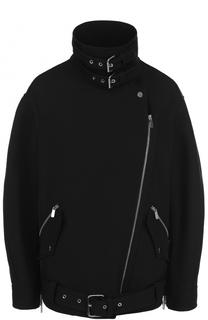 Шерстяная куртка с косой молнией и воротником-стойкой Michael Kors