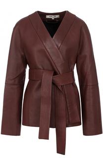Однотонная кожаная куртка с поясом Diane Von Furstenberg