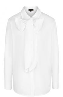 Хлопковая блуза с воротником аскот Escada