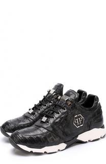 Кроссовки из кожи каймана на шнуровке Philipp Plein