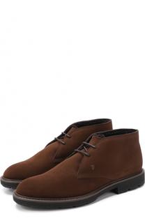 Замшевые ботинки на шнуровке с внутренней меховой отделкой Tod's Tods