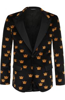 Однобортный вечерний пиджак из смеси хлопка и шелка Dolce & Gabbana