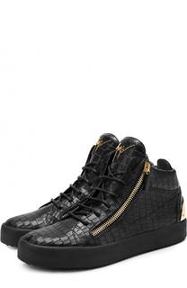 Высокие кожаные кеды на шнуровке с молниями Giuseppe Zanotti Design