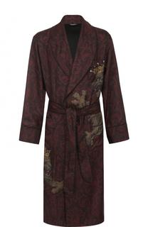 Шелковый халат с поясом и шалевым воротником Dolce & Gabbana