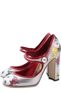 Туфли Vally из металлизированной кожи с принтом Dolce & Gabbana