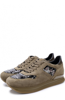Замшевые кроссовки с вышивкой пайетками Hogan
