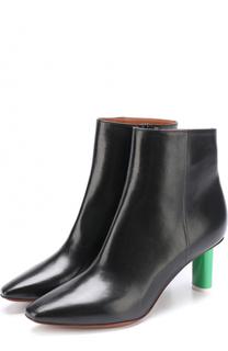 Кожаные ботильоны на контрастном каблуке Vetements